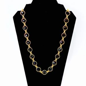 KATE SPADE~black bezel crystal~LONG NECKLACE~GOLD